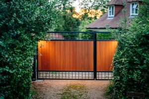 steelframed wooden driveway gates-